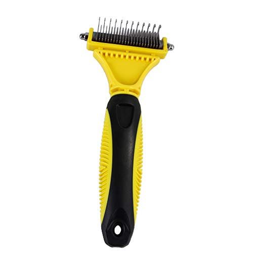 WANGYUMI Pet Undercoat Rake - 2 Sided Dematting Tool for Dogs and Cats - Safe Grooming & Deshedding Brush - Comb Out Mats & Tangles Easily