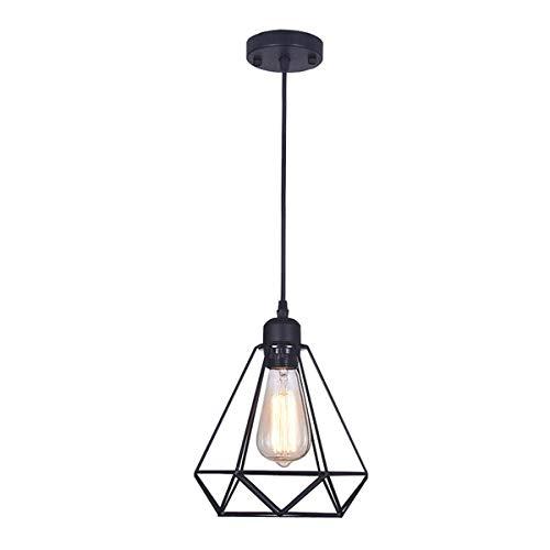E27 Deckenlampe Pendelleuchte Lampenhalter Kupfer Vintage Retro (Black Pendant Lamp with Lampshade)