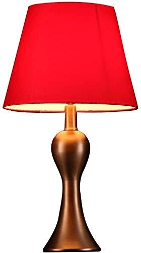 DJSMtd Simples Habitación lámpara de cabecera de Hierro Rojo Decorativo de la Sala de Estar de la lámpara lámpara de Mesa