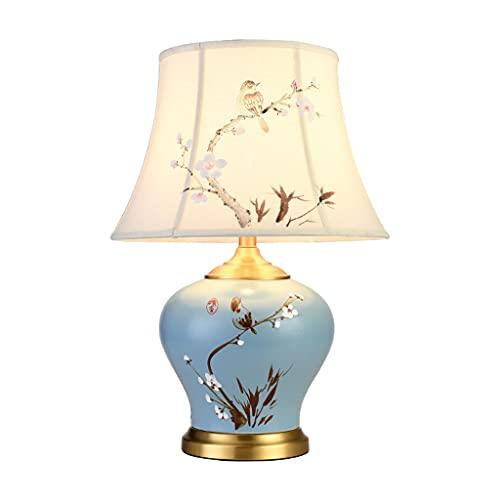SHYPT Nueva lámpara de Mesa de cerámica China Sala de Estar Dormitorio lámpara de Noche Pintada a Mano decoración Retro cálido Cobre Estilo Chino Villa lámpara