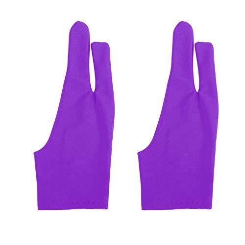 DINOWIN Guante de Dos Ddedos para Tableta Gráfica Guantes Guante Dibujo Anti Incrustantes (Púrpura)