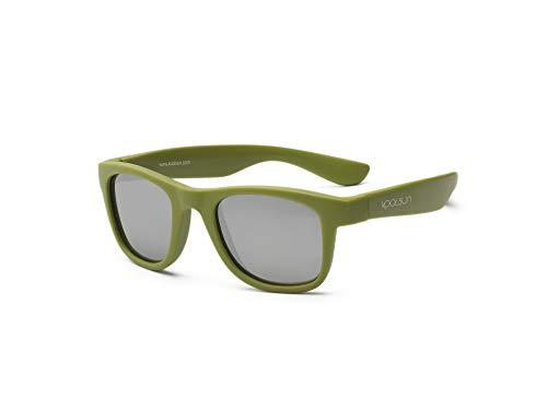 Koolsun pour bébé et enfants Lunettes de soleil Wave Fashion 1 + | Army Green Miroir – Protection UV 100% – Optical Clas 1, Cat. 3