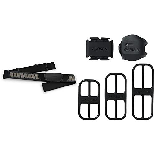 Garmin Bike Speed Sensor 2 and Cadence Sensor 2 Bundle, Black & HRM-Dual - Premium Heart Rate Monitor Chest Strap, Real Time Heart Rate Data via Bluetooth Low Energy, ANT+