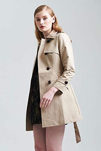 Jejhmy Hochwertige Frühjahr und Herbst Frauen Zweireiher Winddicht Langen Mantel Europäische Modemarke schlank Khaki roten Trenchcoat S Khaki