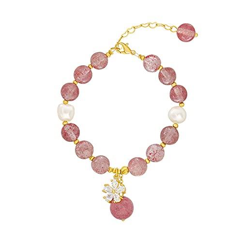 Pulsera de cristal,diseño de personalidad, joyería, temperamento simple, pulsera de perlas de agua dulce, pulsera rosa