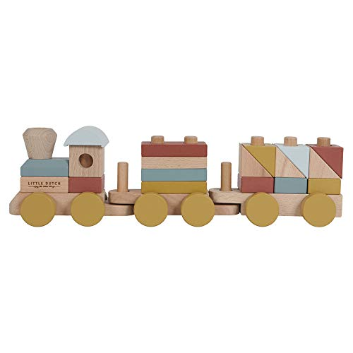 Tiamo Little Dutch 4702 FSC Holz Eisenbahn Zug Lokomotive mit Steckformen Pure & Nature Vintage rot gelb blau 45x8x13,5 cm