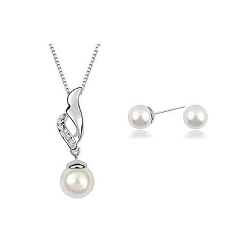 Inception Pro Infinite Set Collana - Orecchini - Perle Bianche sferiche - ciondoli - Foglia Astratta
