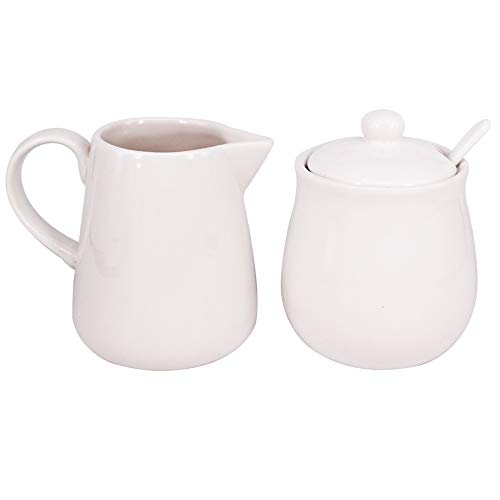 BPFY 11oz Cream Color Ceramic Cream and Sugar Set, Coffee Serving Sets, Sugar Bowl with Lid and Spoon, Cream Pitcher, Cream Jug Sugar Jar
