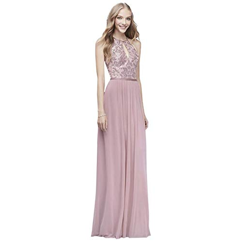 David's Bridal High-Neck Sequin and Mesh Gown with Keyhole Style DS270021, Dusty Rose, 20