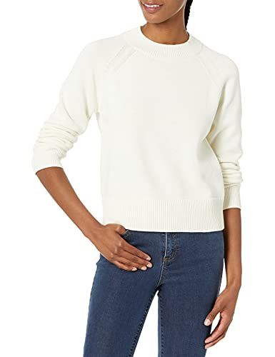 Amazon-Marke: Daily Ritual Damen 100% Cotton Mock-neck Sweater Pullover, Elfenbein, M