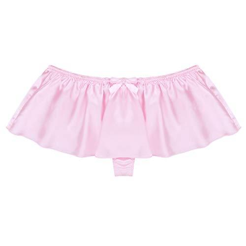 Yeahdor Men's Silky Satin Sissy Skirted G-String Thongs Crossdress Panties Girly Knickers Underwear Pink X-Large (Waist 33.0'-58.5')