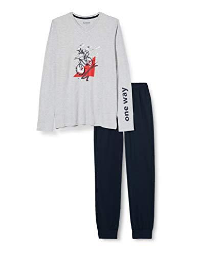 Schiesser Jungen Schlafanzug lang Pyjamaset, grau-Mel, 164