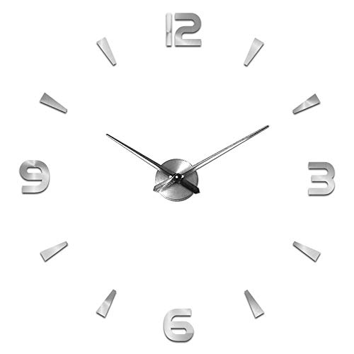 Moderno Reloj de Pared silencioso DIY Reloj de Pared Adhesivo 3D Reloj de Pared para decoración Regalo para casa, Restaurante, Oficina y Hotel (Plata)