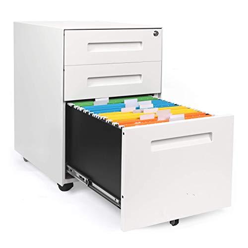 YOLEO Metall Rollcontainer Stahl Rollcontainer mit 3 Schubladen und Hängeregistratur Abschließbarer Büroschrank Bürocontainer 48x40x59 cm (White)