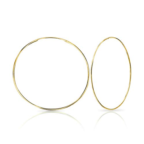 DTPSilver - 925 Sterling Silver and Yellow Gold plated Large Hoops Earrings - Thickness 1.2 mm - Diameter 50 mm