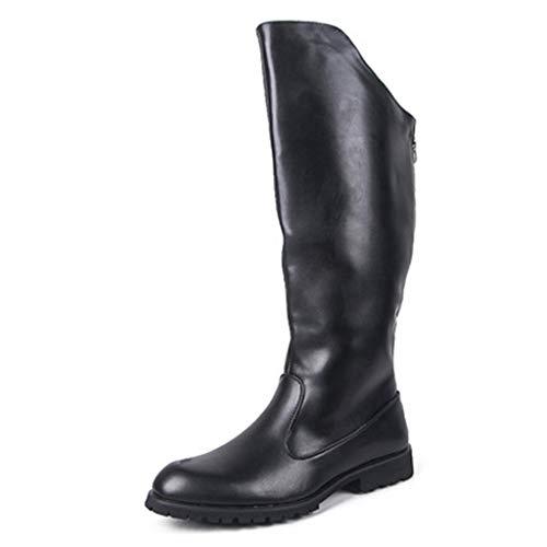 Okeak Männer Lange Reitstiefel Armee-Militärhoch Rohr Martin Stiefel Ritter-Leder Schuhe Größe Reiter Vintage-Schuhe mit Reißverschluss,Schwarz,46