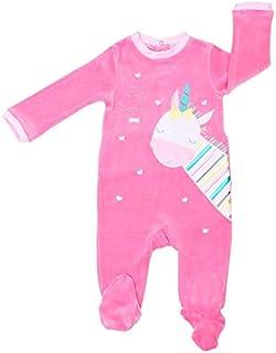Pack 2 Pijamas Pelele Polar Cuerpo Entero Bebe niña para Dormir (Fucsia/Rayas Rosa, 18 meses-80 cm)