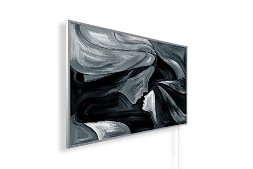 Könighaus Fern Infrarotheizung – Bildheizung in HD Qualität mit TÜV/GS - 200+ Bilder -300Watt - Patentiert -Weißer_Rahmen(136. Mutter Kind Abstrakt) Black Edition