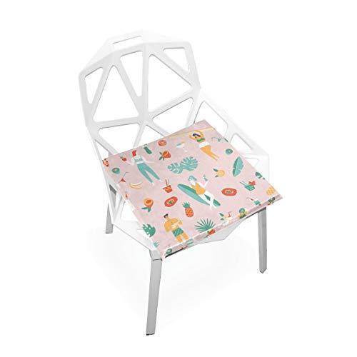 Sommer Hawaii Urlaub Strand Benutzerdefinierte Weiche rutschfeste quadratische Memory Foam Chair Pads Kissen Sitz für Home Kitchen Esszimmer Büro Rollstuhl Schreibtisch Holzmöbel Indoor 16 X 16 Zoll