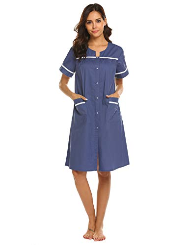 Ekouaer Women's Sleepwear Button Front Cotton Nightgown Short Sleeve House Dress S-XXL (X-Large, Navy)