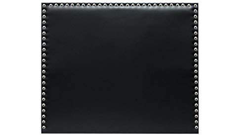 Cabecero de Cama tapizado en Polipiel y con Tachuelas en Color Plata Altura 120cm. Color Negro. para Cama de 105 (Medidas 115x120x8) Pro Elite.