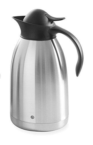 HENDI Isolierkanne, mit schwarzem Druckverschluss, Doppelwandige, Kaffekanne, Termoskanne, Teekanne, 2L, Edelstahl, Polypropylen, ø145x(H)260mm