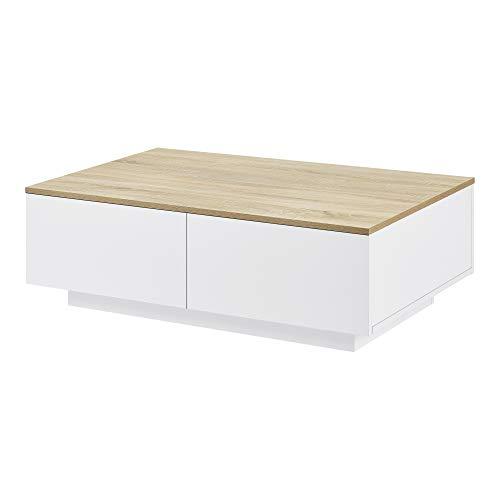 [en.casa] Table Basse de Salon Design avec 4 Tiroirs Meuble de Rangement Stylé Moderne Panneau de Particules 95 x 60 x 31 cm Blanc Effet Chêne