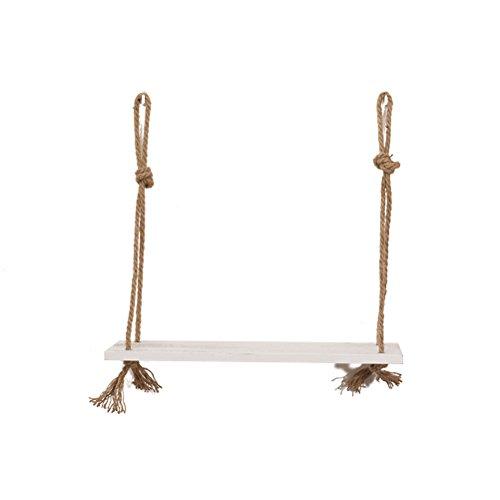 VORCOOL Holz Regal Wandregal mit Seil Hängeregal schwebendes Regal für Blumentopf Bilderrahmen Bücher (weiß)