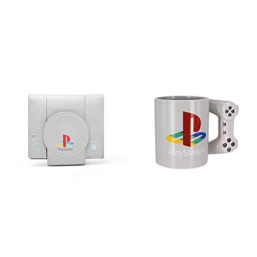 Sony Playstation Console Shaped Bifold Wallet & Paladone Playstation PS4 Controller Shaped Standard Size 300ml Coffee Mug, Ceramic, Multi, 9 x 15 x 11 cm