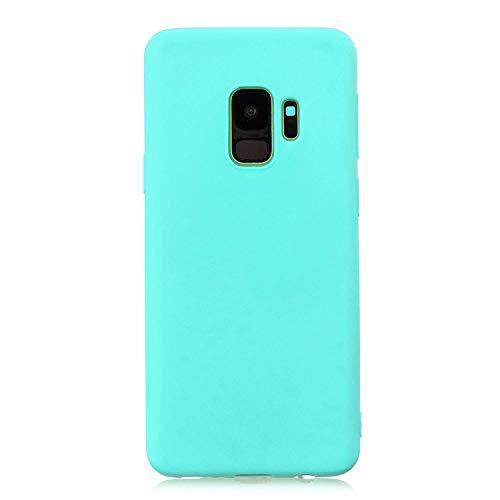 cuzz Funda para Samsung Galaxy S9+{Protector de Pantalla de Vidrio Templado} Carcasa Silicona Suave Gel Rasguño y Resistente Teléfono Móvil Cover-Azul Claro