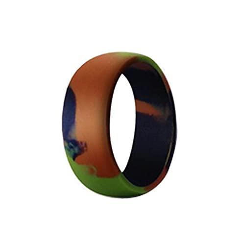 XDY 8.7mm Anillo de Silicona Curvada para Hombre para Hombre de Silicona para Hombre para Hombre Accesorios de Anillo Unisex Camuflaje Verde,Camouflage Green,8#18.1mm