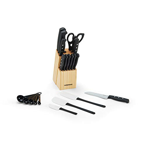 Farberware 22-Piece Never Needs Sharpening Triple Rivet High-Carbon Stainless Steel Knife Block and Kitchen Tool Set, Black
