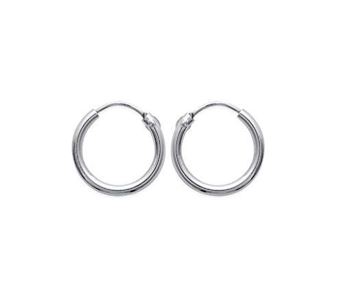 Tata Gisele - Pendientes de aro para hombre de plata 925/1000 rodiada, 14 mm