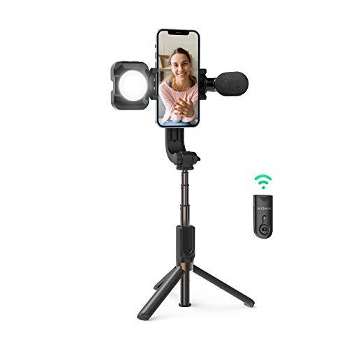 BlitzWolf Trípode Palo Selfie, Selfie Stick Extensible con Luz y Micrófono para Vlogs Grabación de Video Transmisión en Vivo, Trípode Liviano con Bluetooth Inalámbrico para Teléfono Android iPhone