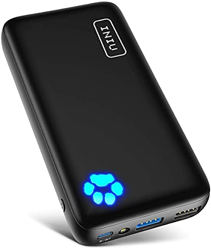 INIU Portable Charger, 20000mAh Dual 3A High-Speed Outputs Power Bank, USB C Input with Flashlight External Phone Battery Pack, for iPhone Xs X 8 7 Plus iPad AirPods Samsung S10 S8 Google LG etc.