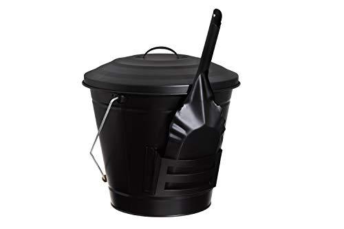 GARTENPAUL Ascheeimer 14 Liter mit Deckel, Tragebügel mit Holzgriff und Ascheschaufel mit Halterung, schwarz