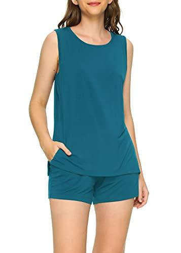 Latuza Women's Bamboo Viscose Pajama Tank Top Shorts Lounge Set