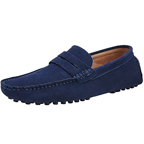 yldsgs Mens Penny Loafers Moccasin Suede Leather Slip On Casual Dress Driving Shoes Blue 38