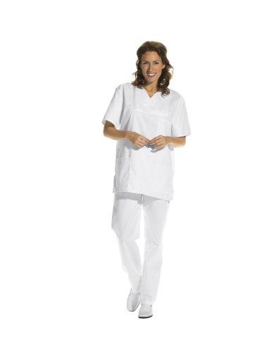 Leiber, pantaloni donna e uomo, pantaloni sanitari, ospedalieri, con elastico Bianco bianco