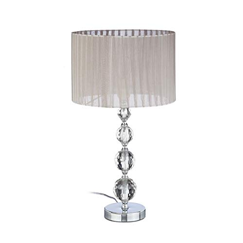 Relaxdays Nachttischlampe Kristall, Tischleuchte Kugel, Tischlampe grau, Schirm, HBT: 53 x 29,5 x 29,5 cm, klar/silber