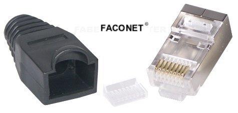 Faconet® 10x Crimp Stecker Netzwerk Internet LAN Kabel geschirmt RJ45 Metall ummantelt mit Knickschutz und Einfädelhilfe, CAT 6, 5e, Modular Plug with Insert