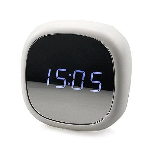 Blan Reloj despertador digital creativo con espejo, multifunción, espejo de maquillaje, reloj electrónico, doble propósito, fuente de alimentación
