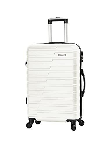 Maldision - Maleta de cabina de compañía de alta calidad, 100 % ABS, 10 años, blanco, 55 x 36 x 20 cm
