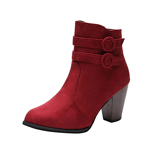 HYSPORT Women's Boots Office Ladies Mid-Calf Warm Boots Thick Heel High Heel Buckle Women Shoes Winter Fashion Solid Colors Retro Shoes Slip-On Comfortable Simplicity Basic Concise Boots