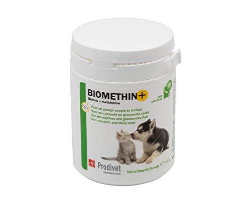 Prodivet Biomethin+ für weiches und glänzendes Fell, gegen übermäßigen Haarausfall bei Hunden und Katzen. Natürliche Inhaltsstoffe, sehr schmackhaft, einfache Anwendung.