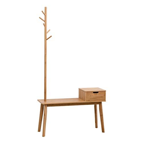 Porte-manteaux et banc à chaussures de style nordique Un porte-chaussures en bambou avec entrée ménagère et tiroir de rangement avec tiroirs de rangement Tabouret en bois pour chaussures