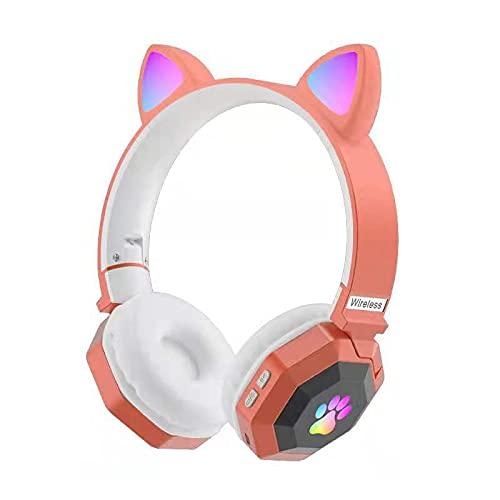 RAPG Auriculares Bluetooth Inalámbricos con Cabeza de Gato Auriculares Estéreo de Alta Fidelidad Transmisión Estable Bluetooth 5 0 Larga Duración de La Batería Auriculares Plegables