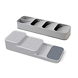 Set of 2 includes 1 x compact cutlery organiser and 1 x knife organiser Cutlery organiser has individual, stacked compartments for different cutlery with icons to identify cutlery type Knife Organiser provides safe, organised storage for up to 9 kniv...