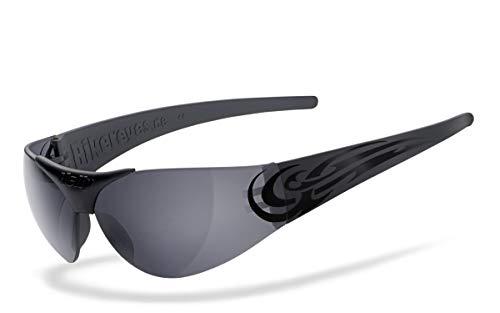 Brillengestell: schwarz matt Motorradbrille Helly/® No.1 Bikereyes/® HLT/® Kunststoff-Sicherheitsglas nach DIN EN 166 Brille: sidewinder UV400 Schutzfilter