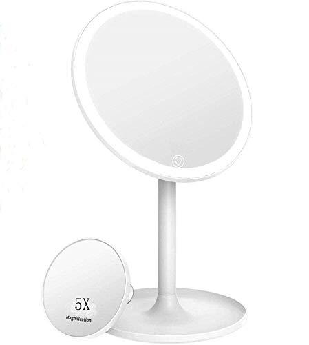 STLOVe Espejo de Maquillaje LED, 1de 5 aumentos, Espejo de Mesa con iluminación LED y función de Ventilador, Giratorio 360°, Dos Modos de alimentación (batería o Puerto USB), Color Blanco